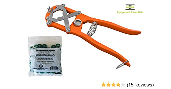 Diamond Cut Edge Elastrator Heavy Duty Tool Bander Pliers for Dogs Goats  Lambs Calves Pigs Veterinary Orange + 100 Bands