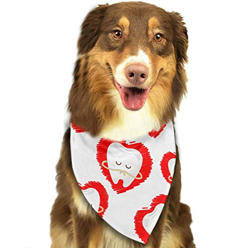 (NOWDIDA Dog Bandana Dental Hygienist Dentist Cartoon Teeth Heart Pet Scarf Triangle Bibs Kerchief Set Pet Costume Accessories Decoration for Small Medium Large Dogs Cats)