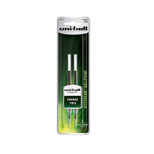 uni-ball Jetstream Ballpoint Pen Refills, Bold Point (1.0mm), Black, 2 (Bold Point Ballpoint Pen Refill)