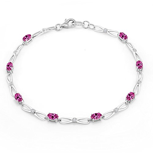 Gem Stone King 10K White Gold Oval Pink Created Sapphire White Diamond Bracelet 0.06 Ct 7.5inches ()
