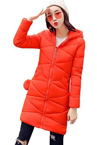 COMVIP Womens Winter Hooded Mid-length Cotton Padded Warm Jacket Orange