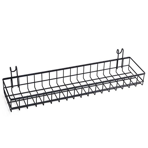 Kufox Multipurpose Mesh Wall Metal Wire Basket, Grid Panel Hanging Tray , Wall Mount Organizer, Wire Storage Shelf Rack For Home Supplies, Wall Decor, Small Size, Black Coated