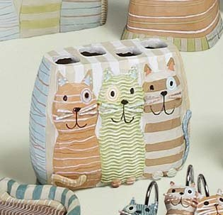 Cat Toothbrush Holder - Creative Bath, Meow Cats Toothbrush Holder