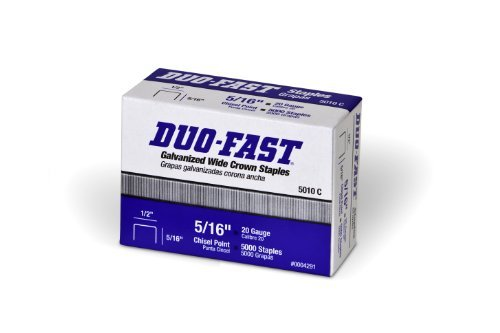 Duo Fast 5010C 20 Gauge Galvanized Staple 1/2-Inch Crown x 5/16-Inch Length, by Duo-Fast