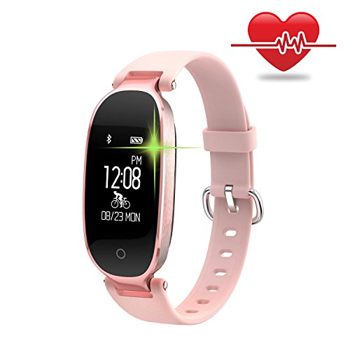 WOWGO Fitness Tracker Women, Smart Watch Bracelet, Pedometer, Heart Rate Monitor, Calorie Counter, Waterproof Wristband Watch with Health Sleep Activity Tracker (Rose Gold)