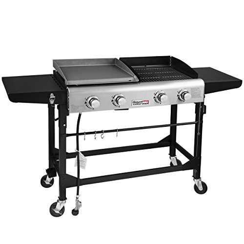Royal Gourmet Portable Propane Gas Grill and Griddle Combo,4-Burner,Griddle Flat Top, Folding Legs,Versatile Outdoor Camping Stove with Side - Flat Griddle
