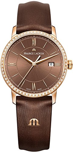 Maurice Lacroix Women's 'Eliros' Swiss Quartz Gold-Tone and Leather Casual Watch, Color:Brown (Model: EL1094-PVPD1-710-1)