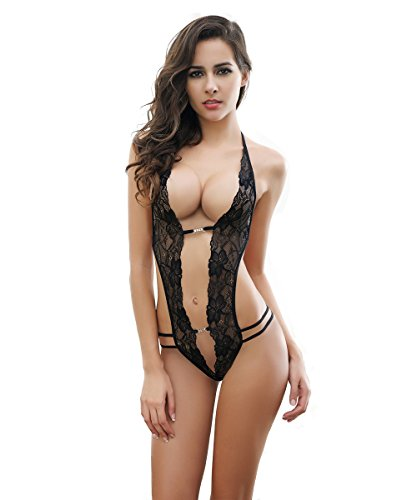 YPS Women's Sexy Lace Deep V Halter Lingerie One Piece (Fancy Pants Designs Transparency)