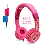 Kids Headphones, EasySMX On-Ear Headset Wired Foldable 85dB Volume Limited with Mic Headphone Splitter 3.5mm Jack in-line Control Children Headphones (Pink)