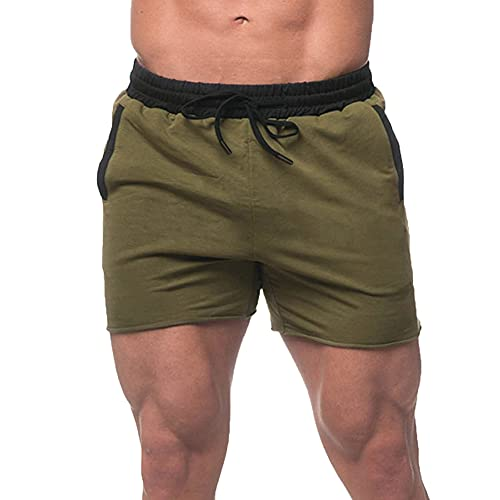 A WATERWANG Men's Bodybuilding Shorts, Breathable Workout Sweat Shorts for Running with Pockets