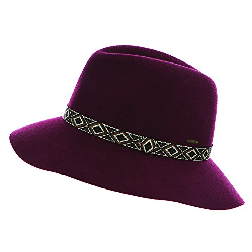 H-182-64 Aztec Stitch Felt Hat - Burgundy
