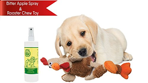 Apple Furniture (Destined to Perform Bitter Apple Spray 16oz + Dog Chew Toy (Rooster) - Dog licking & destructible chewing prevention bundle)