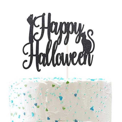 Happy Halloween Cake topper,zombie hand and Cat Pumpkin birthday Halloween Party Decorations ( Double Sided Gold Glitter )