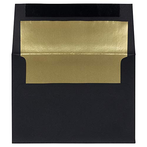 (JAM PAPER A7 Foil Lined Invitation Envelopes - 5 1/4 x 7 1/4 - Black Linen with Gold Foil - 50/Pack )