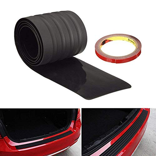 (iJDMTOY (1 Black Rubber Rear Trunk Edge Guard Scratch Protector Cover Mat w/Double-Sided Tape for Car SUV Jeep, etc)