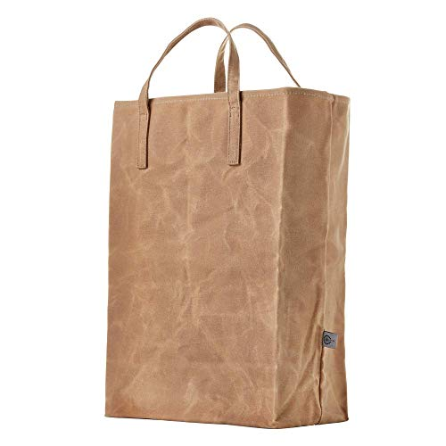 Colony Co. Reusable Grocery Bag, Easily Foldable, Stands Up on its Own for Easy Filling, Waxed Canvas, Heavy-Duty, Plastic-Free, Brown