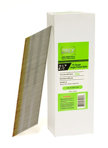 GREX GAN15-64 15 Gauge 2-1/2-Inch Length Angle Finish Nails (4,000 per box)