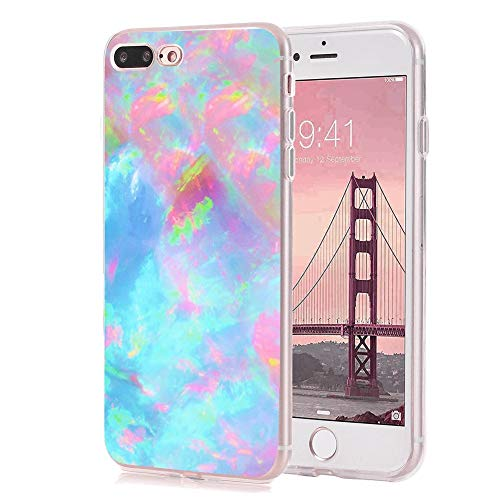 iPhone 7/8 Plus Case Watercolor Shut Up Marble Texture Pink Shut up Colorful Graffiti Watercolor Marble Candy Wrapper Painting by GEMYON ()