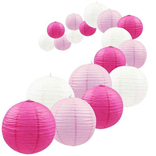 UNIQOOO 18Pcs Premium Pink Paper Lantern Set,5 Assorted Size, Reusable Hanging Decorative Japanese Chinese Paper Lanterns,Easy Assembly,for Birthday Wedding Baby Shower Christmas Party Decor Supplies