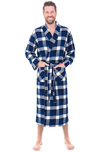 Alexander Del Rossa Men's Lightweight Flannel Robe, Soft Cotton Kimono, Small Blue Navy and White Plaid (A0707Q37SM) (Camo Mens Bathrobes)