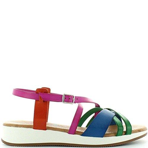 Marila Aida 1173, Beautiful Strappy Sandals in Bright Coloured Leather Bright Multi