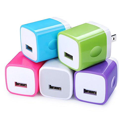 Charging Block, FiveBox 5PC 1Amp USB Wall Charger Adapter Brick Phone Charger Cube Plug Charger Box Base for Android, iPhone X/8/7/7s, Samsung Galaxy S6/S7/S8, HTC, Nexus, Sony, LG, Goggle, Blackberry by FiveBox