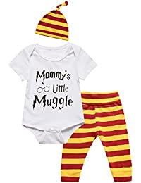 3Pcs Outfit Set Baby Boy Girl Infant Snuggle This Muggle Rompers