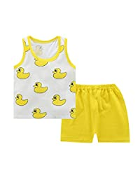 Happy angel Kids Summer 2 Piece Sets Baby Boy Girl Short Sleeve T-Shirt Pants Casual Clothes Outfits