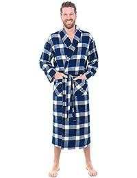 Mens Flannel Plaid Robe, Soft Cotton Bathrobe