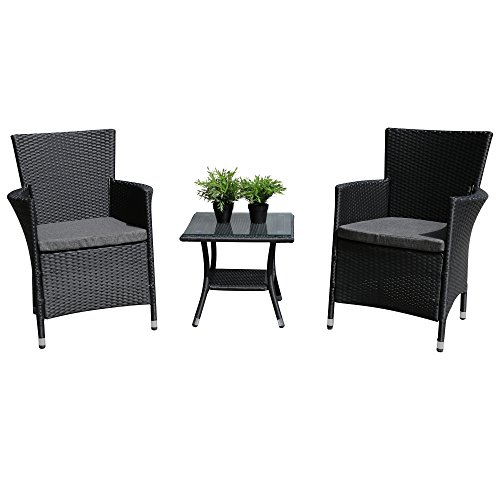 PATIOROMA 3PC Patio Outdoor Rattan Furniture Set Cushioned Garden Table and Chairs with Gray Cushions, Black PE Wicker (Commercial Rattan Outdoor Furniture)