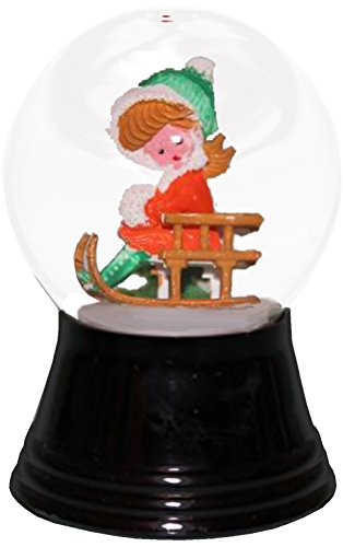 Alexander Taron Importer PR1232 Perzy Decorative Snowglobe with Small Girl on Sled, 2.75'' x 1.5'' x 1.5'' by Alexander Taron Importer