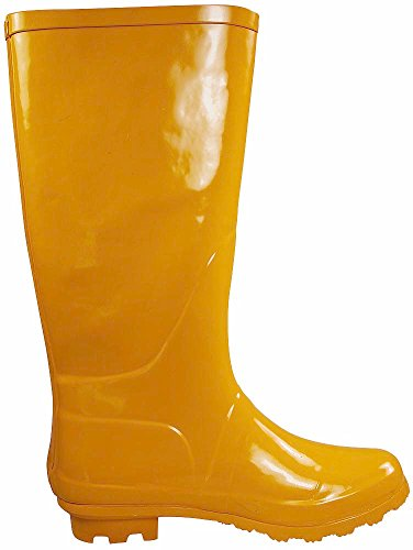 14 Matte NORTY Rainboots Hi Wellie Calf Solids Hurricane Glossy Yellow Waterproof and amp; Women's Prints xArqAwtz
