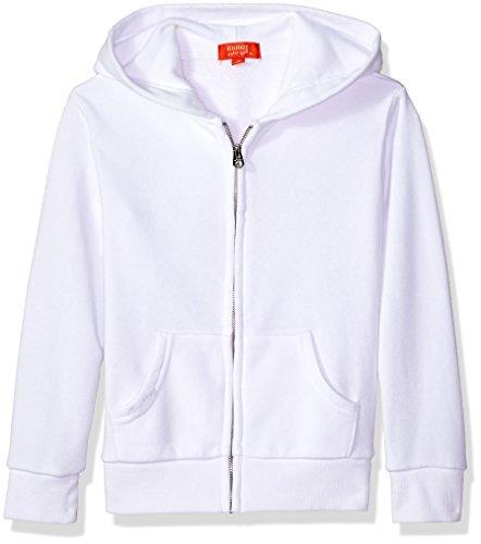 Super Hoodies Butter Soft - Butter Girls' Little Long Sleeve Fleece Hoodie, Printed Zip White, 5