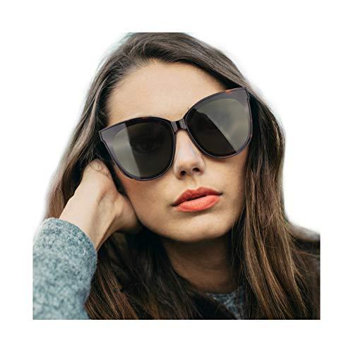 Tortoise Plastic Fashion - LVIOE Cat Eyes Sunglasses for Women, Polarized Oversized Fashion Vintage Eyewear for Driving Fishing - 100% UV Protection (Tortoise Frame/Green Lens Cat Eyes Oversized, Green)