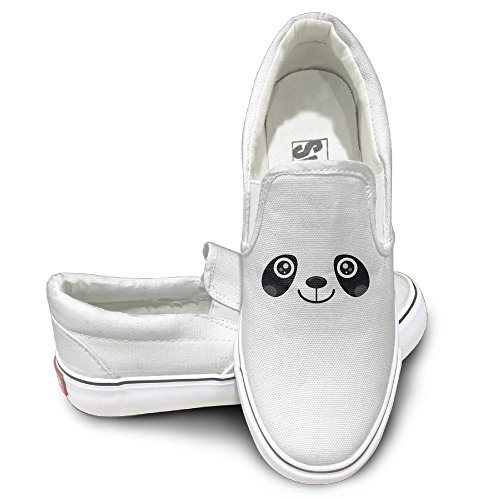 Claudia Unisex Sport Shoes Panda Face Canvas Sneaker 37 White
