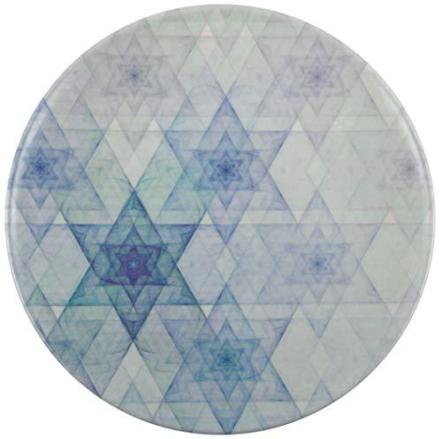 Melange 608410091863 6-Piece 100% Melamine Salad Plates Hanukkah Stars Collection Shatter-Proof and Chip-Resistant|, 10.5