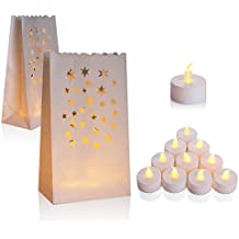 Flameless Tealight + Candle Bag, Set of 50, AceList Flickering LED Tealight Tea Lights w/ Flame Resistant Paper Luminary Bags for Wedding, Reception, Party and Event Decor