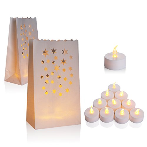 Flameless Tealight + Candle Bag, Set of 50, AceList Flickering LED Tealight Tea Lights w/ Flame Resistant Paper Luminary Bags for Wedding, Reception, Party and Event Decor Led Tealight Set