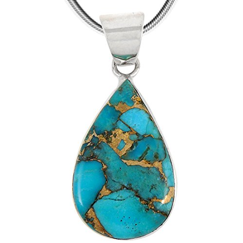 Turquoise Pendant Necklace in Sterling Silver 925 Genuine Copper-Infused Matrix Turquoise Select Style