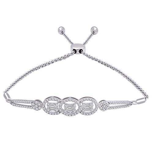 OMEGA JEWELLERY 10K Solid Gold Round & Baguette Shape Real Diamond Halo Bolo Bracelet (0.97 Ct) (White-Gold)
