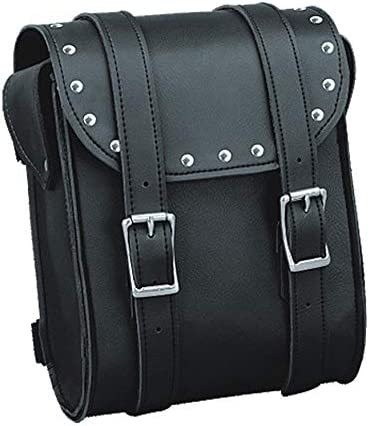 IKLeather Synthetic Leather Motorcycle Biker Studded Sissy Bar Tool Travel Bag With Quick Release Clip Buckles 8 Inch Tall