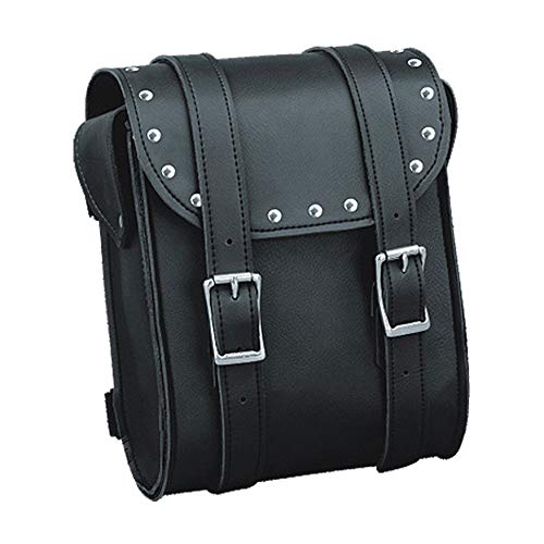 (IKLeather Synthetic Leather Motorcycle Biker Studded Sissy Bar Tool Travel Bag With Quick Release Clip Buckles 8 Inch Tall)