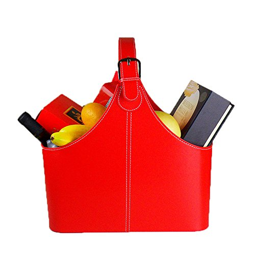 Leather Gift Basket,Magazine Newspaper Holder/Racks,Storage Organizer for Wine Flowers Fruits Candys,for holiday presents Christmas display (Red)