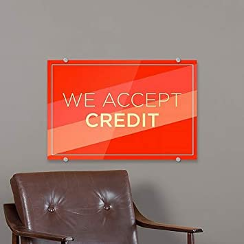 Modern Diagonal Premium Acrylic Sign We Accept Credit CGSignLab 5-Pack 18x12