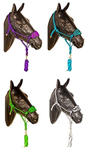 Cowboy Lead (PREMIUM DELUX NYLON ROPE HORSE HALTER W LEAD SNAP BRONC COWBOY (Purple))