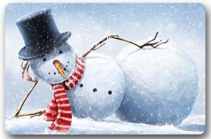 23.6(L) x 15.7(W) Warm Winter Wishes Snowman Christmas Entrance Indoor/Outdoor Floor Mat Doormat Hey Boss