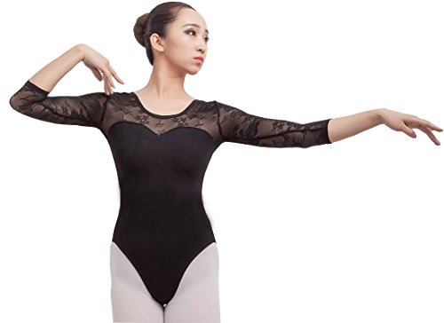 Ballet Costumes Adults (Limiles Adult Ballet 3/4 Sleeve Lace Back Leotard)
