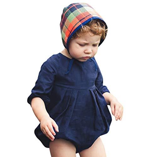 Kawaiine Baby Girls Boys Kids Ruched Romper Bodysuit Outfits Set Dark Blue -