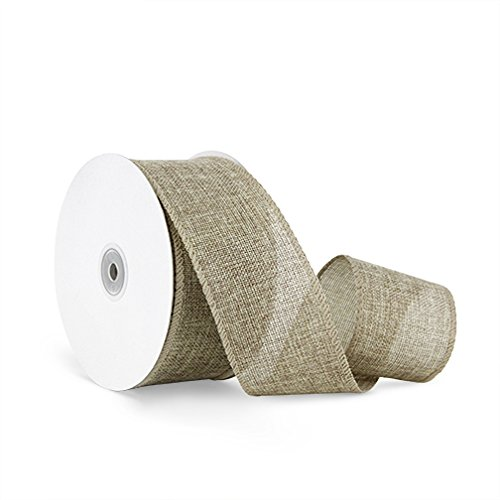 Craft Faux Burlap Jute Wired Ribbon, 2.5 Inches
