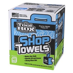 SELLARS WIPERS Toolbox Blue Center-Pull Box Shop Towels (200 Sheets Per Box), 10